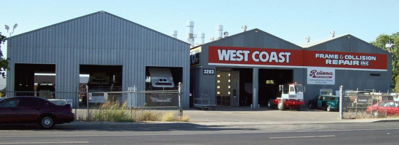 Front of West Coast Frame & Collision Repair Shop